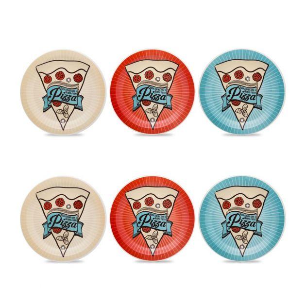 Conjunto de Pratos para Pizza 6 Pc Porcelana 26 cm – Oxford