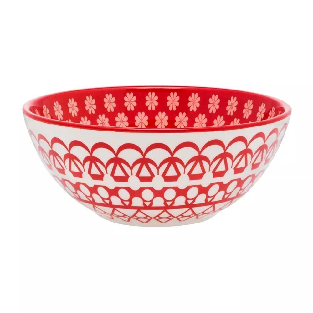Conjunto de Tigelas Cerâmica Vermelha 600 ml Full Renda 12 peças