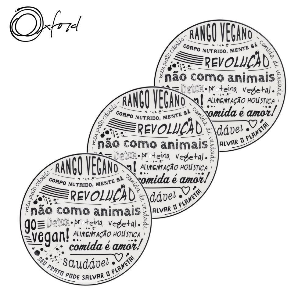 Jogo De Pratos Vegano 3 Peças Oxford Temático
