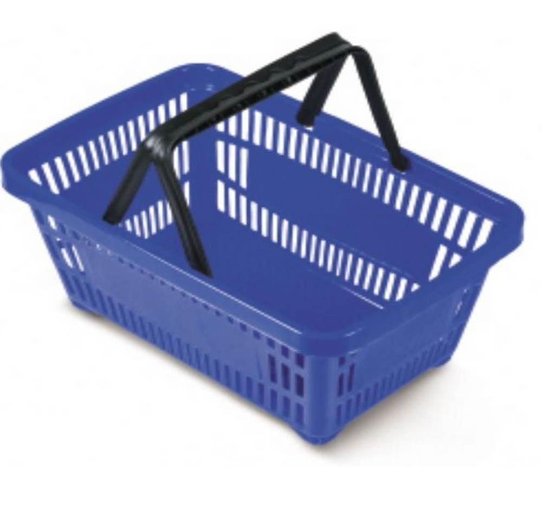 Kit com 10 Cestos para Mercado em Plástico Azul MS13 Commerco