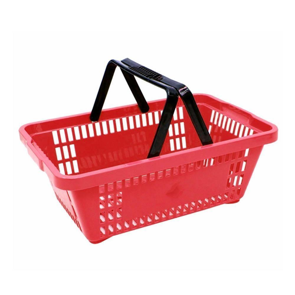 Kit com 10 Cestos para Mercado em Plástico Vermelho MS13 Commerco