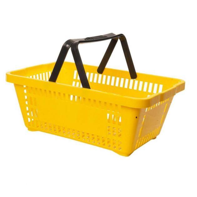 Kit com 5 Cestos para Mercado em Plástico Amarelo MS13 Commerco