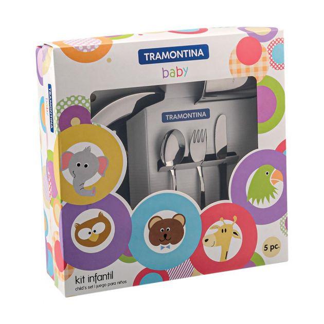 Kit Infantil Baby Para Refeição 5 Peças Inox Tramontina